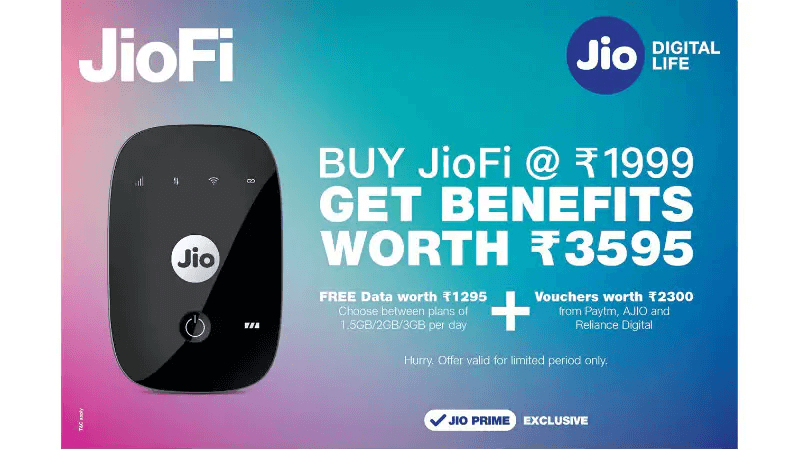 Reliance JioFi Offer 3595