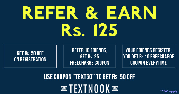 TextNook - Get Rs 125 FreeCharge Funds by Referring Friends
