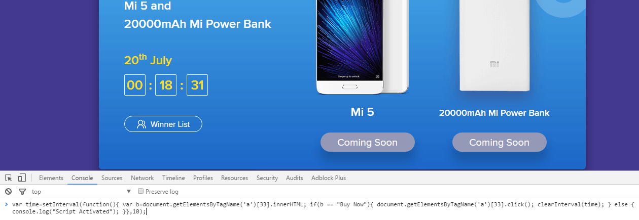 how to apply mi flash sale script