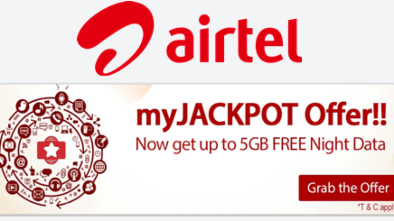 Get 5 GB Airtel Free Internet Data in Airtel JackPot Offer