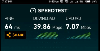 Jio 4G Speed test Screen short