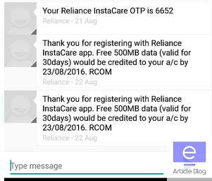 Reliance insta care free data