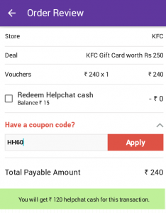 helpchat cashback coupon on gift card kfc pizza hut