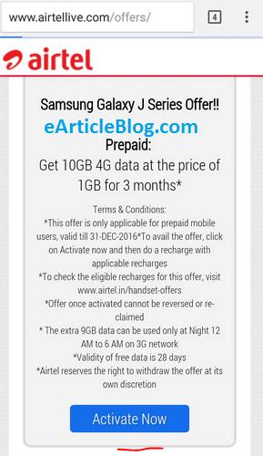 airtel free internet data 10 gb samsung j