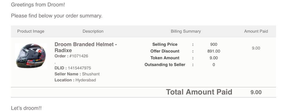 free helmet at rs 9 from droom proof earticleblog