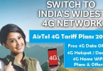 Airtel 4G Plans Free Data Offer