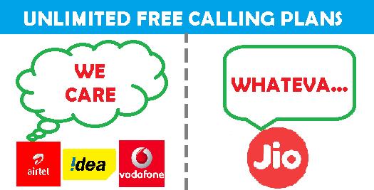 unlimited free calling airtel vodaphone idea