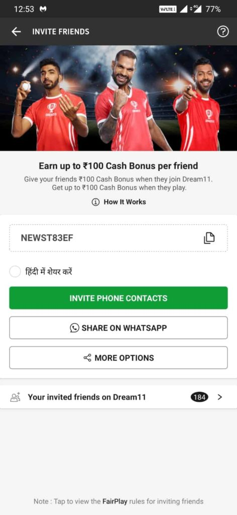 Dream11 Refer and Earn
