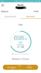 reliance jio data balance