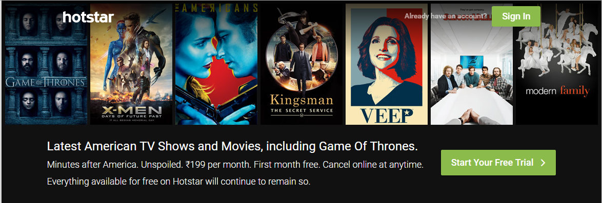Us hotstar com Free Or $1 Monthly - More info