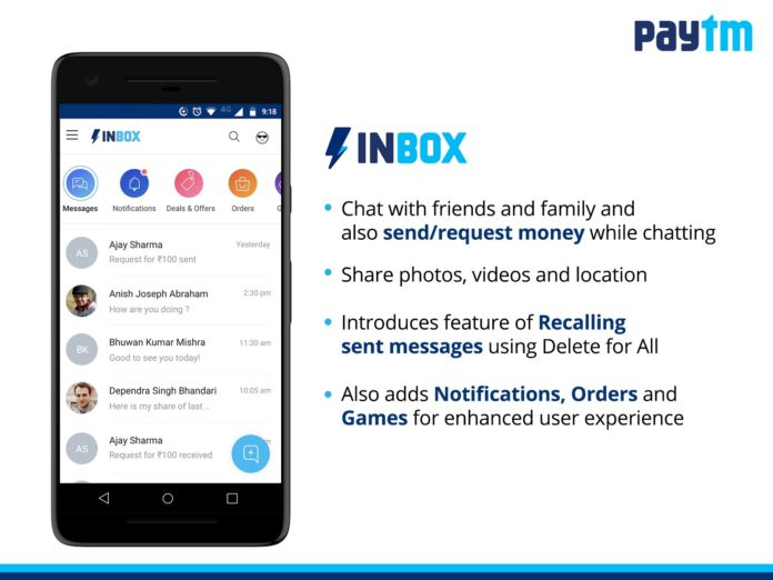 Paytm Launches 'Inbox', a Full-Fledged Chat Platform