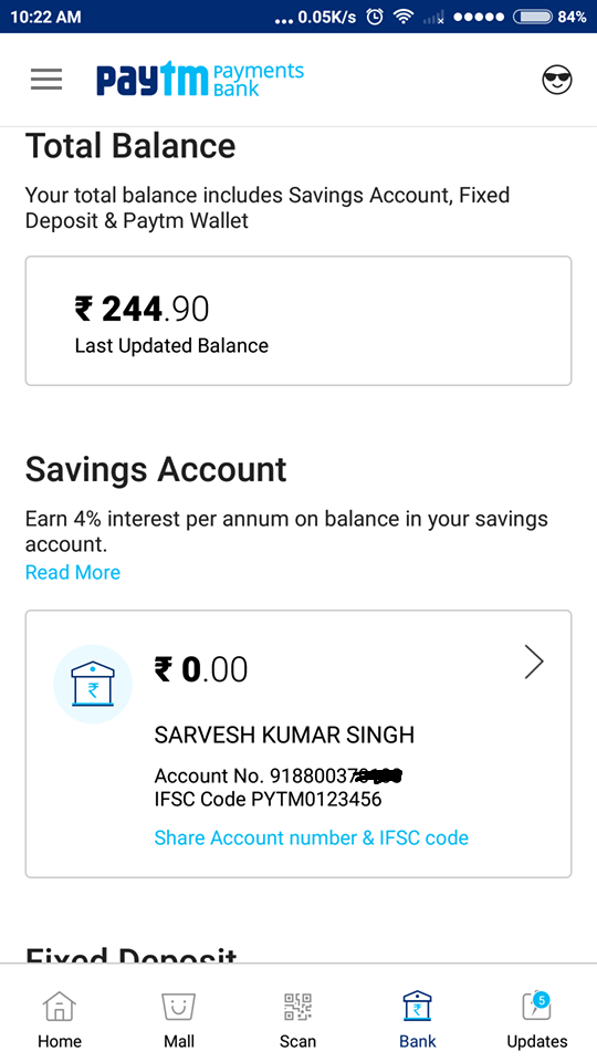 Paytm Bank my account