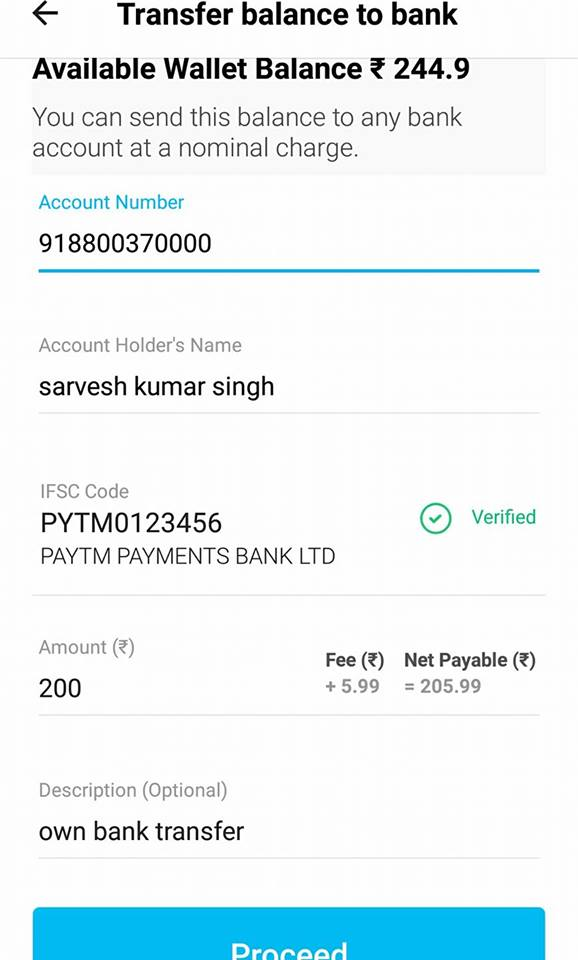 Money transfer threw paytm wallet