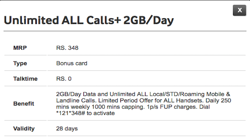 Vodafone's Rs. 348 Pack Now Gives 2GB Data Per Day And Unlimited Calling