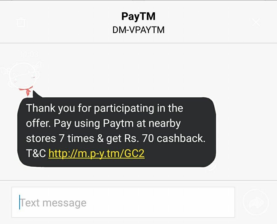 Paytm Cashback Offer
