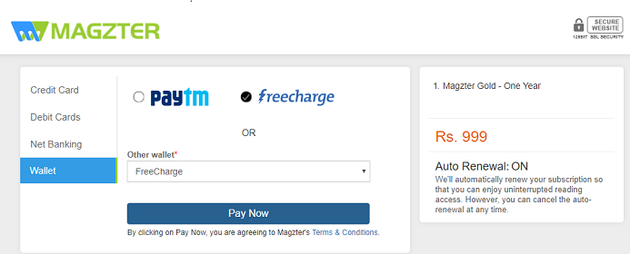 Magzter payment using Freecharge