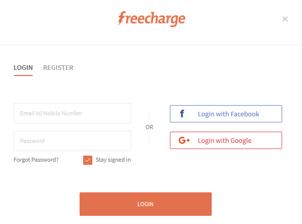 Freecharge login with mobile number
