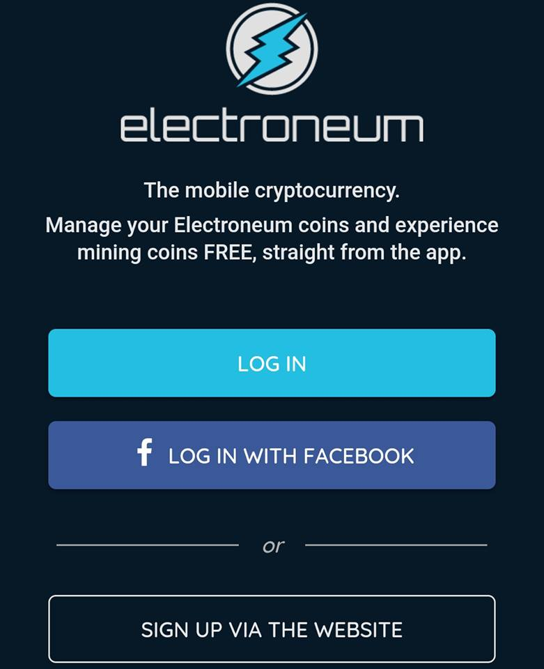 Electroneum Mobile Mining signup