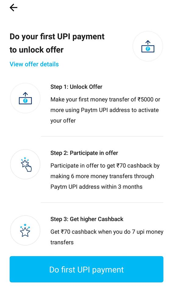 Paytm 7pe70 upi offer