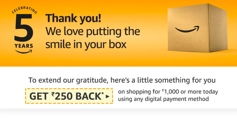 Amazon Anniversary Cashback Offers