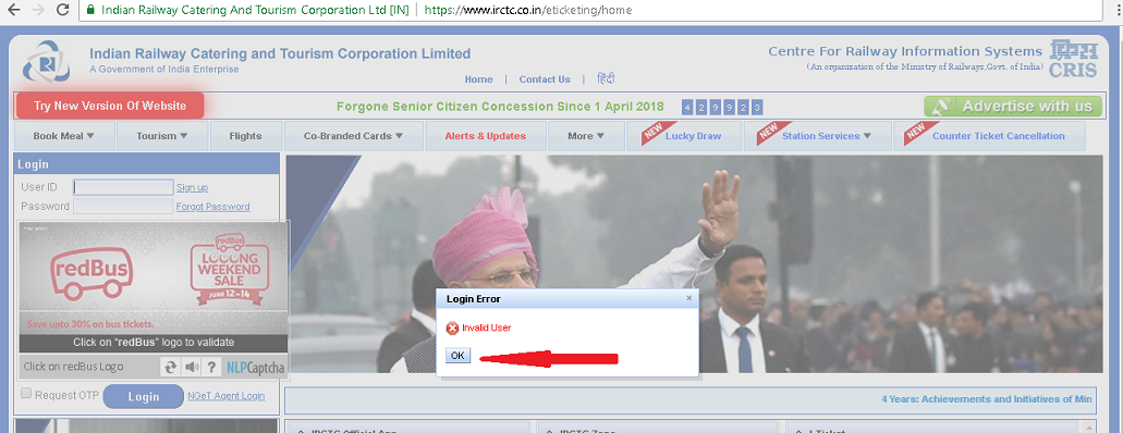 irctc old site login page