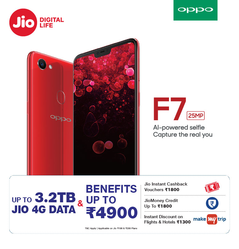 Jio Oppo Monsoon Offer Gives Data Benefits Of 3.2TB At Rs. 4,900!