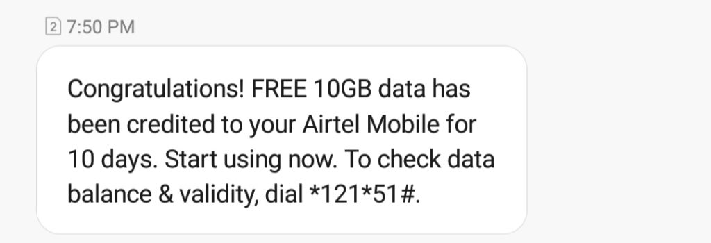 airtel 10 gb free data number 2020