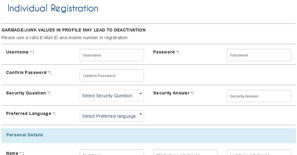irctc individual registration page