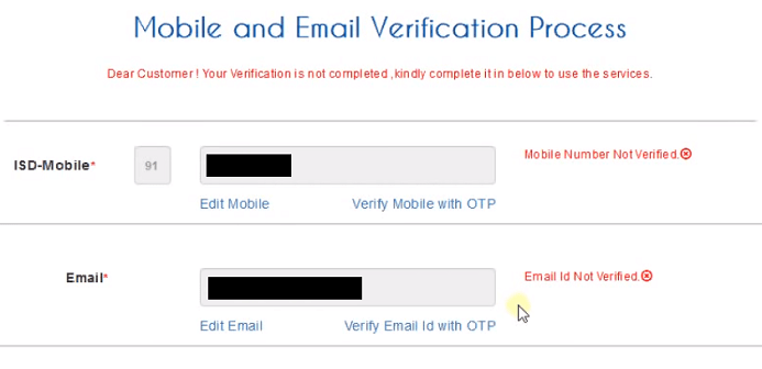 irctc mobile email verification process