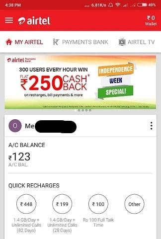 Airtel Independece Week Offer Page