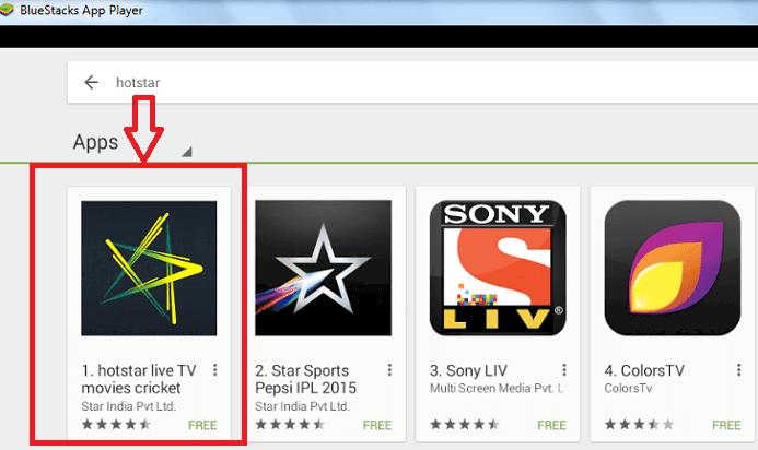 hotstar app on blustacks
