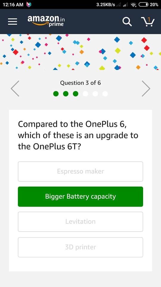 Amazon Oneplus 6T Quiz Answer