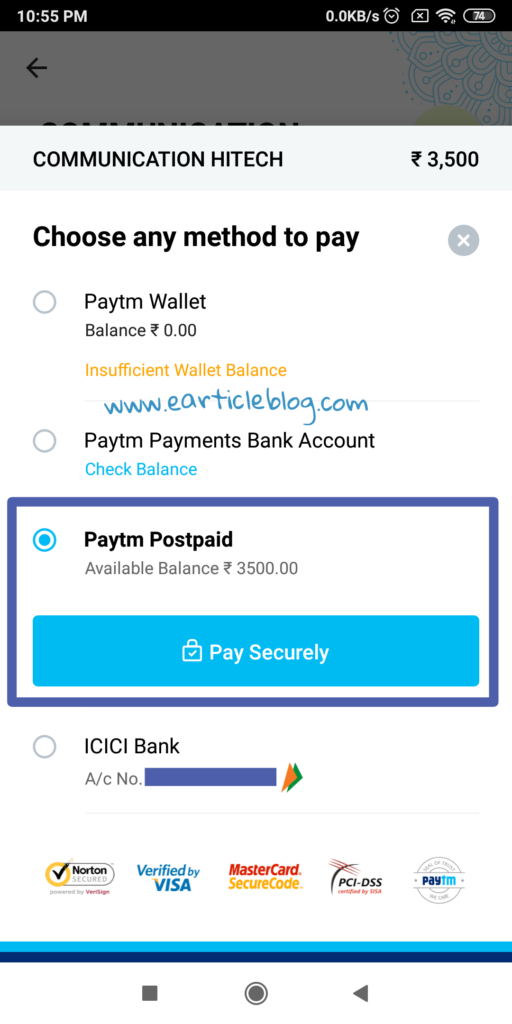 Paytm Postpaid to Bank Account