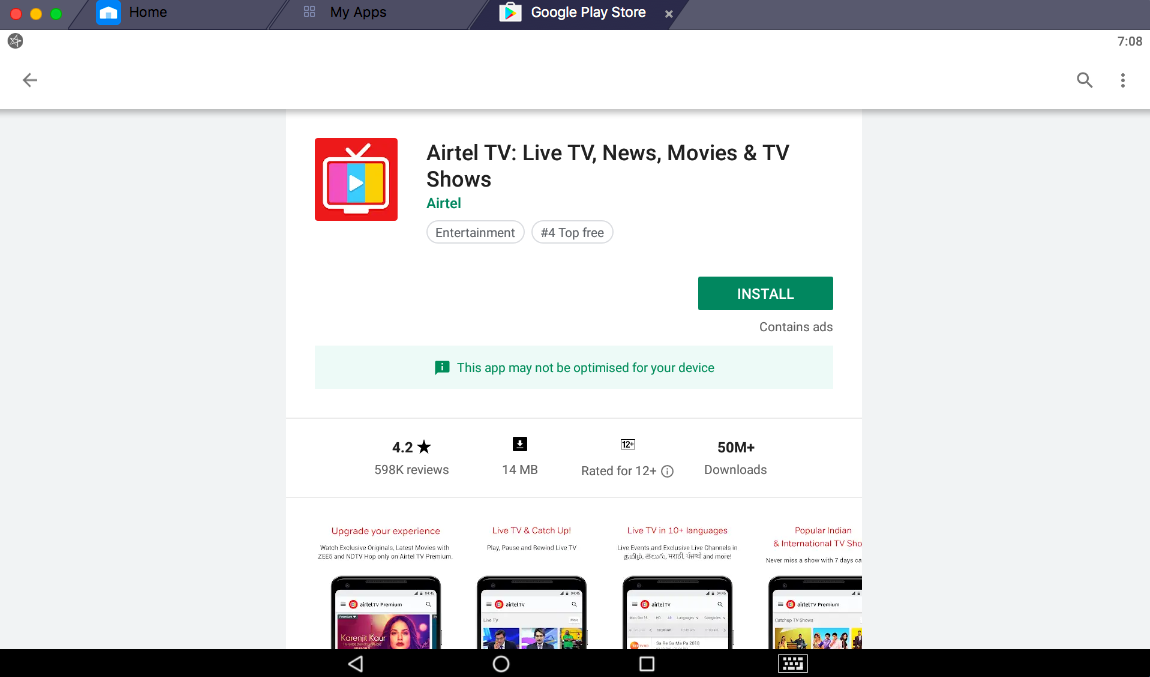 Airtel TV app for PC