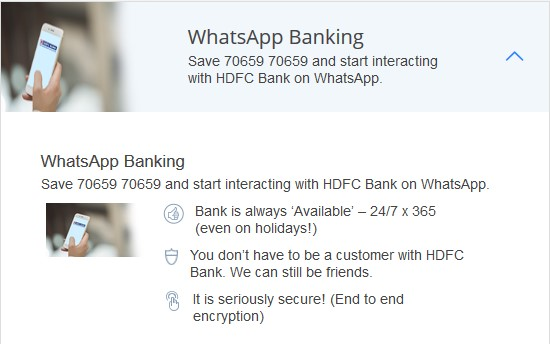 HDFC BANK WHATSAPP NUMBER List