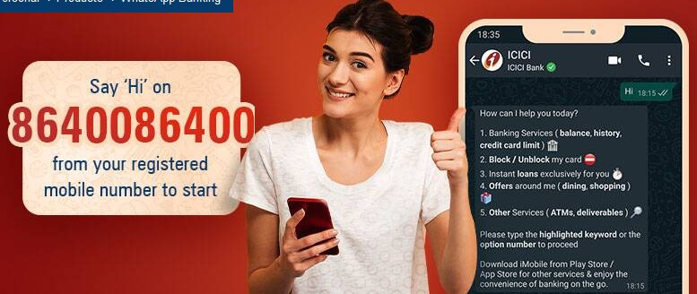 ICICI banking Whatsapp number