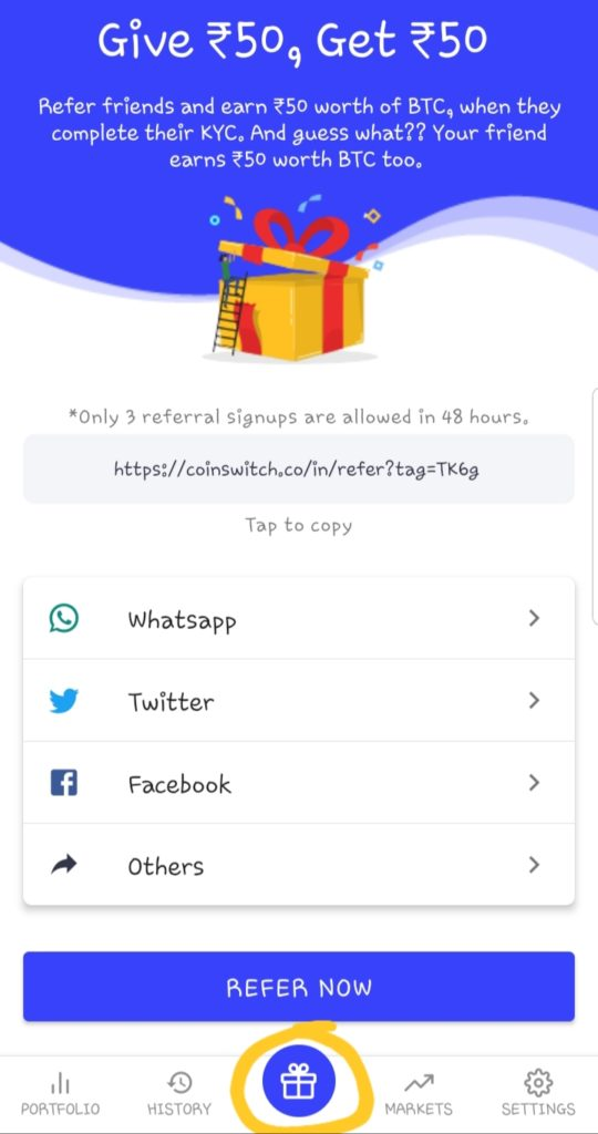 coin switch app, coinswitch referral code