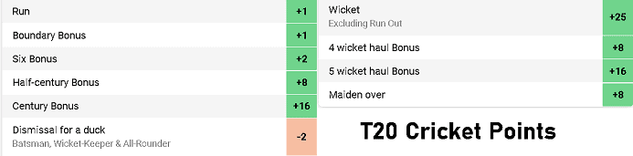 Dream11 T20 Cricket Point System