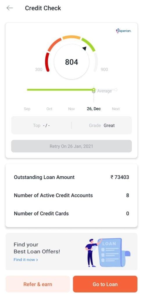 TrueBalance free credit score check