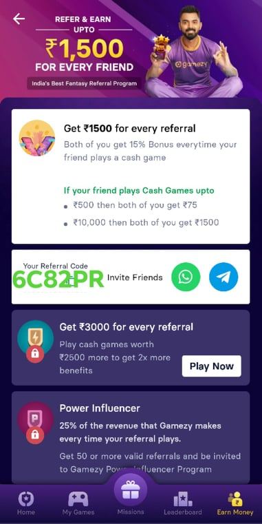 Gamezy Referral Offer