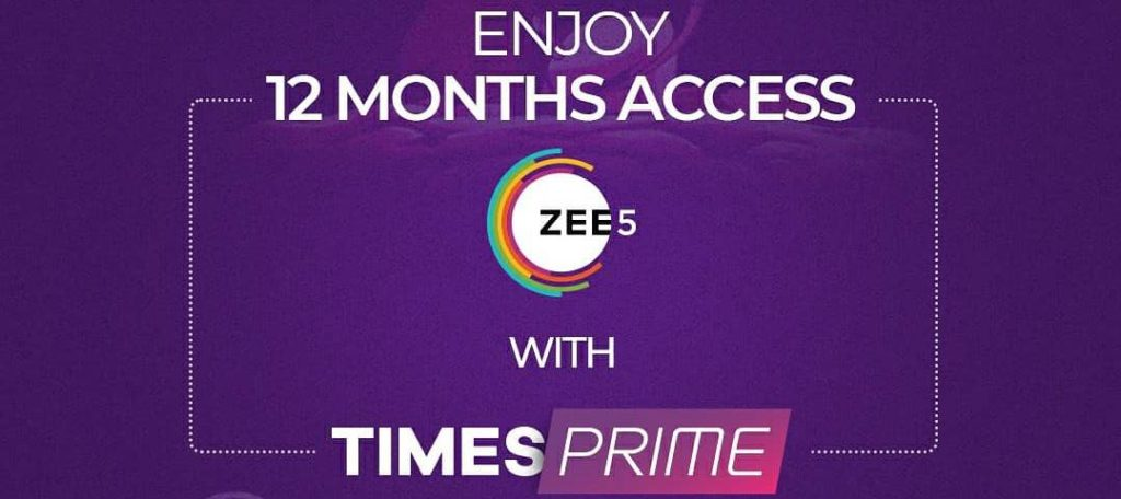 Zee5 Free Subscription Code on Times Prime