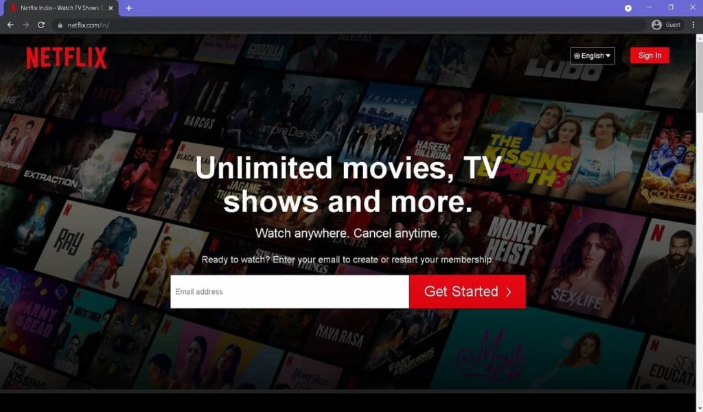 Create Account on Netflix in India
