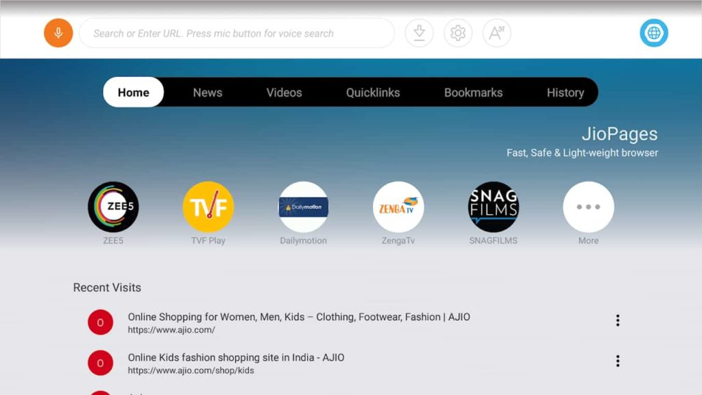 JioPagesTV Browser for Android TV